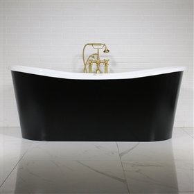 "<br>'The Whitland59' 59"" Cast Iron French Bateau Tub with Eggshell Onyx Black Finish Aluminum Exterior Shell and Drain<BR>"