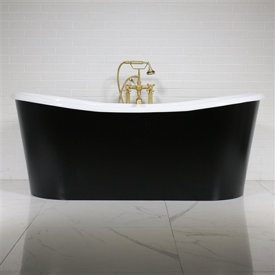 "<br>'The Whitland68' 68"" Cast Iron French Bateau Tub with Eggshell Onyx Black Finish Aluminum Exterior Shell and Drain<BR>"