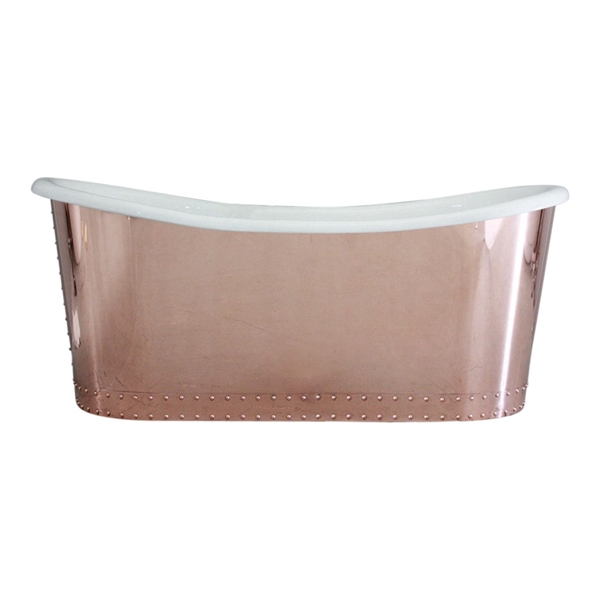 "'The Woburn59' 59"" Cast Iron French Bateau Tub with Mirror Polished Solid Copper Exterior and Drain"