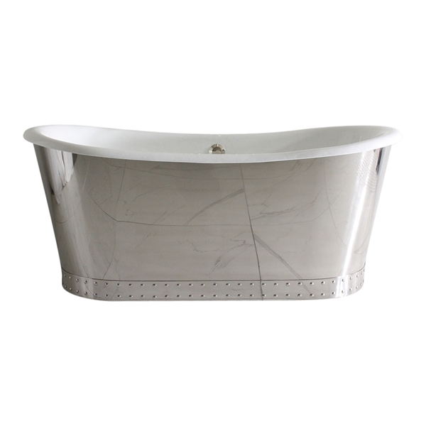 "<br>'The Wokingham68' 68"" Cast Iron French Bateau Tub in Mirror Polished Stainless Steel Exterior with Riveted Straps and Drain<br>"