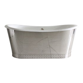 "'The Wokingham73' 73"" Cast Iron French Bateau Tub with Mirror Polished Stainless Steel Exterior with Riveted Straps and Drain"