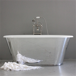 "<br>'The Woodspring' 61"" Cast Iron Double Ended Tub with MIRROR POLISHED Stainless Steel Exterior<br>"