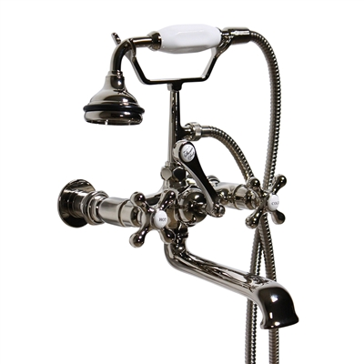 <br>VF110TWMPN Penhaglion No. 97 Wall Mount Tub Faucet with Handheld Shower in POLISHED NICKEL