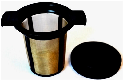 This is probably the best infuser for brewing in a mug or 2 to 4 cup teapots. The fine mesh stops small particles from the leaves/herbs going in to the brew. Comes with a drip tray.