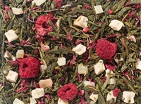 Green tea with fruity raspberry creamy nuances