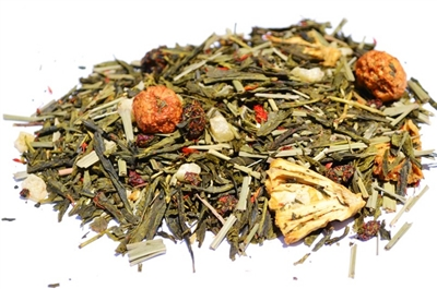 Tea on the Beach is a cherry pineapple flavored green tea.