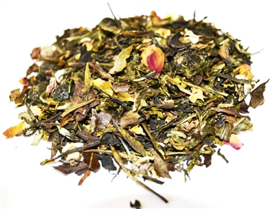 White Cherry is a flavored white & green tea with a hint of jasmine & coconut in the predominant cherry flavor.