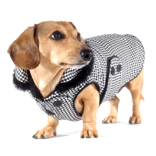 Reversible Houndstooth Dachshund Coat