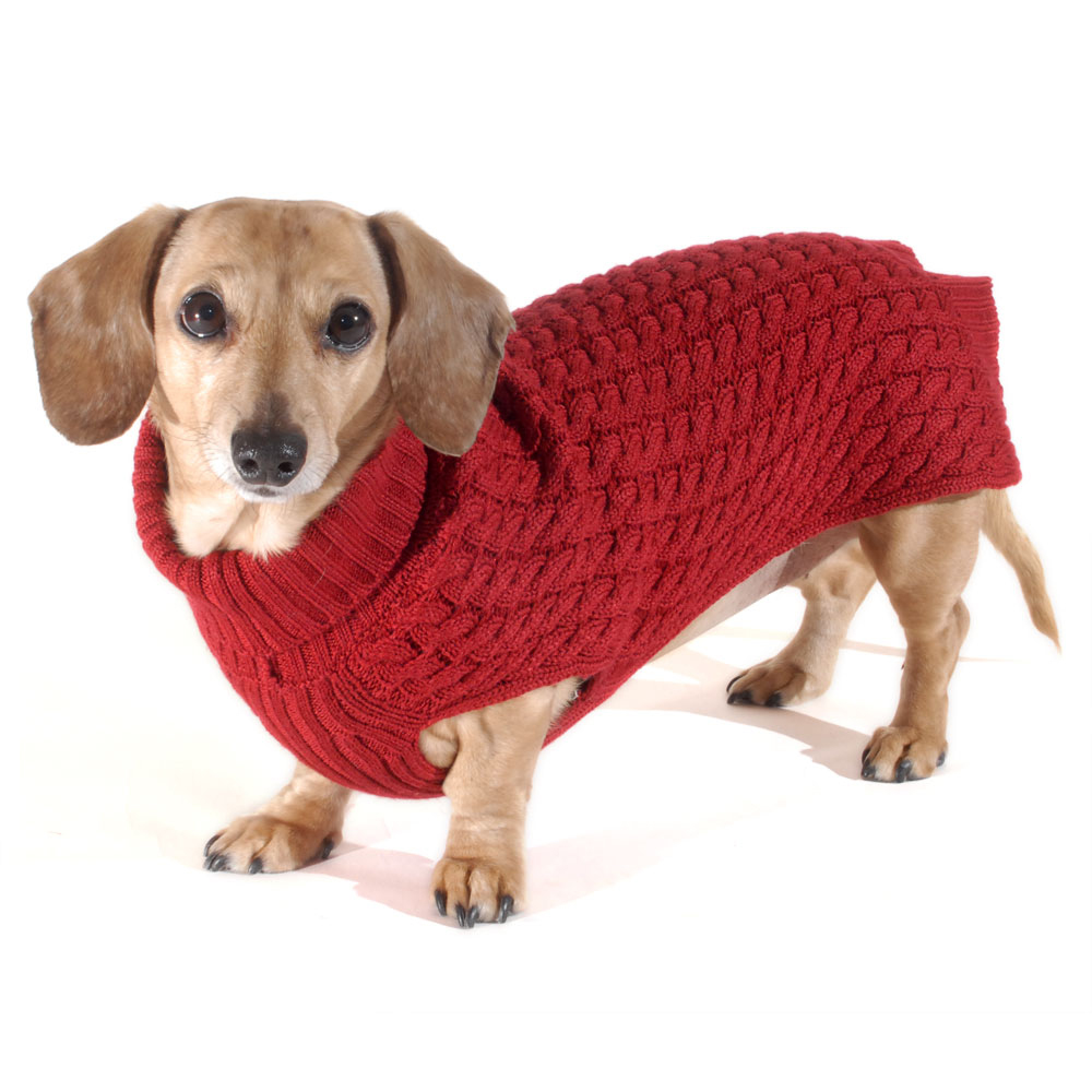 Ruby Red Doxifit Dreamknit Wool Blend Dachshund Sweater