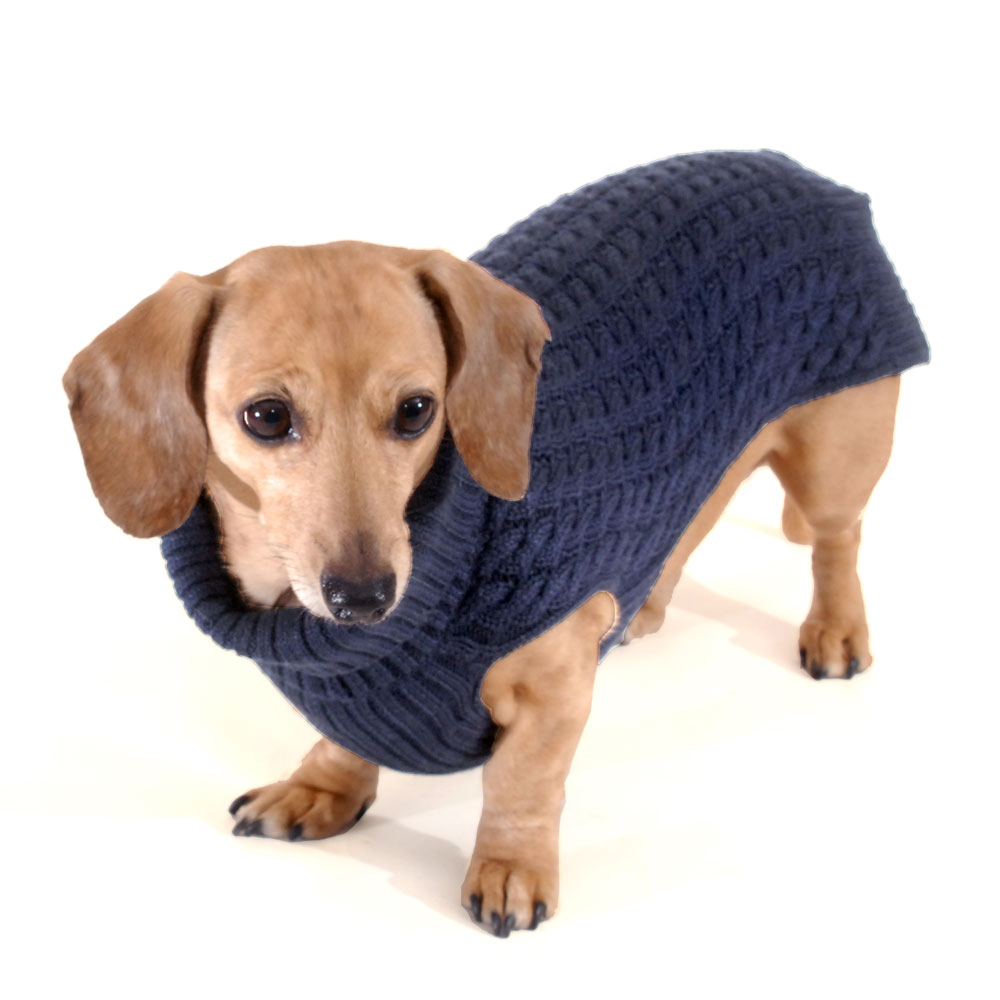 Navy Blue Doxifit Dreamknit Wool Blend Dachshund Sweater
