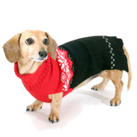 Poinsettia DoxiFit DreamKnit Wool-Blend Dachshund Sweater