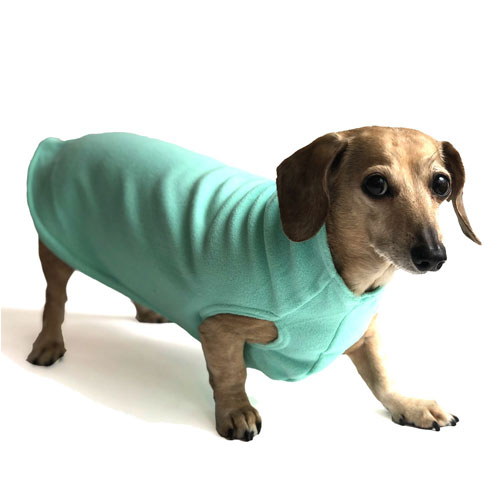 Aqua Dachshund Fleece Sweater