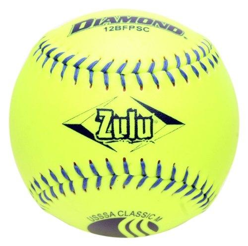 """6 Yellow Diamond® Zulu® CLASSIC Slow Pitch 11/"""" Blue Stitch USSSA Softballs"""