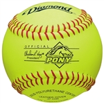 "Diamond 12"" Pony League Leather Fastpitch Softballs - 6 Dozen"