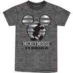 Adult Unisex T Shirt Mickey Stripe Icon with foil, Dark Gray