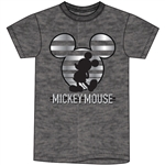 Adult Mickey Stripe Icon Tee, Black Heather