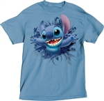 Adult Unisex T-Shirt Embossed Stitch Front & Back Tee, Columbia Blue