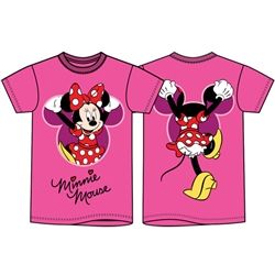 Adult Women's T Shirt Minnie Mouse Climbing, Pink