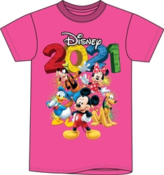Adult 2021 Fun Friends Mickey Minnie Pluto Donald Goofy Tee, Pink