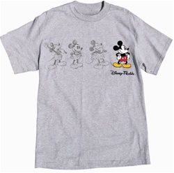 Adult Unisex T Shirt 3 Mickey Sketch, Gray Heather (Florida Namedrop)