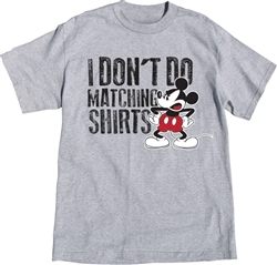 Adult Size Unisex Tee Shirt Mickey Don't Do Matching, Gray