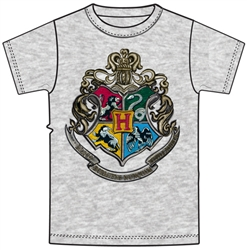 Adult Unisex T Shirt Harry Potter Hogwarts Crest, Gray