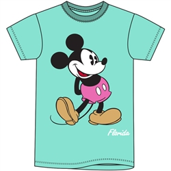 Adult Men's T Shirt Mickey Head to Toe, Mint Green (Florida Namedrop)