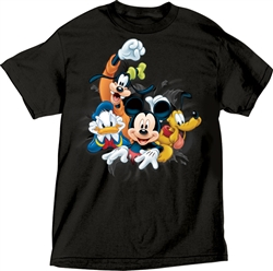 Adult Unisex T-Shirt Fab 4 Bursting Goofy, Donald, Mickey Pluto Tee, Black