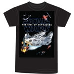 Adult T Shirt Star Wars Battle The Rise of Skywalker Tee, Black