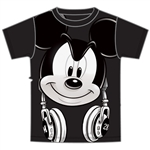 Adult Mens Tee Mickey Hedfowns Headphones, Black