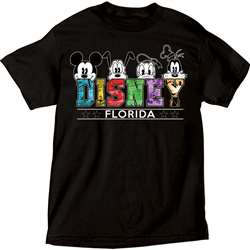 Adult Unisex T Shirt Disney Heads Mickey Pluto Donald Goofy, Black  (Florida Namedrop)
