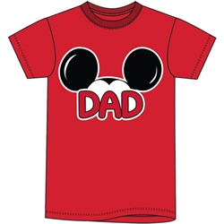 Adult Mens Tee Shirt Dad Fan, Red