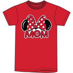 Adult Womens Tee Shirt Mom Fan, Red
