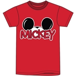 Adult Mens Tee Shirt Mickey Family Fan, Red