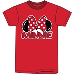 Adult Womens Tee Shirt Minnie Family Fan, Red