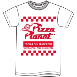 Adult Unisex T Shirt Toy Story Pizza Planet, White