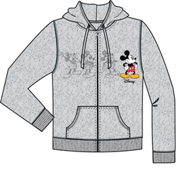 Adult Mickey Plus One Zip Up Hoodie, Gray