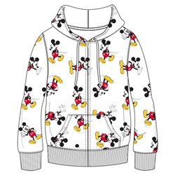 Adult Mickey All Over Print Zip Up Hoodie, White
