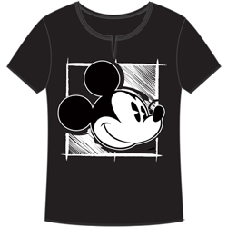 Adult V-Neck Shirt Painter Mickey, Black