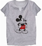 Womens V Neck T Shirt Old School Mickey, Gray Heather
