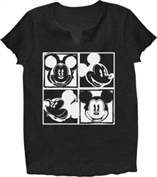 Adult V-Neck Shirt Mickey Warhol, Black