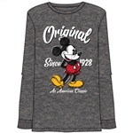 Unisex Original Mickey Long Sleeve Top, Charcoal Heather
