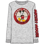 Adult Unisex Mickey Mouse Original Fan Long Sleeve Top, Gray
