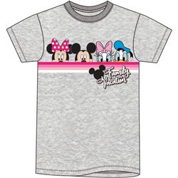 Adult Women's Tee Vacation Pals Minnie Mickey Daisy Donald, Gray