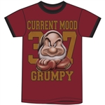 Adult Ringer Tee Back Off Grumpy Mood, Cardinal Black