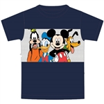 Youth Boys T Shirt Fab Four Mickey Goofy Pluto Donald, Navy Blue