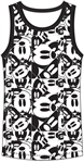 Boys Tank Mickey Mouse Repeat All Over, Black White