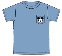 Mens Pocket Mickey Head Tee, Blue