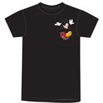 Mens Pocket Mickey Kicking Tee, Black
