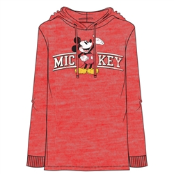 Adult Men's Mickey Curve Lightweight Hoodie, Cherry Red